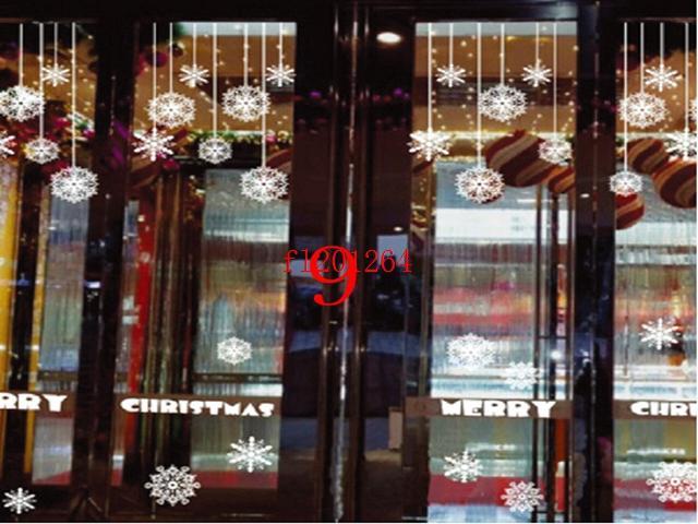 50 adet / grup Ücretsiz Kargo Noel Duvar Çıkartmaları tutkal Olmadan windows kabine çıkartmalar elektrostatik gizli çıkartmalar