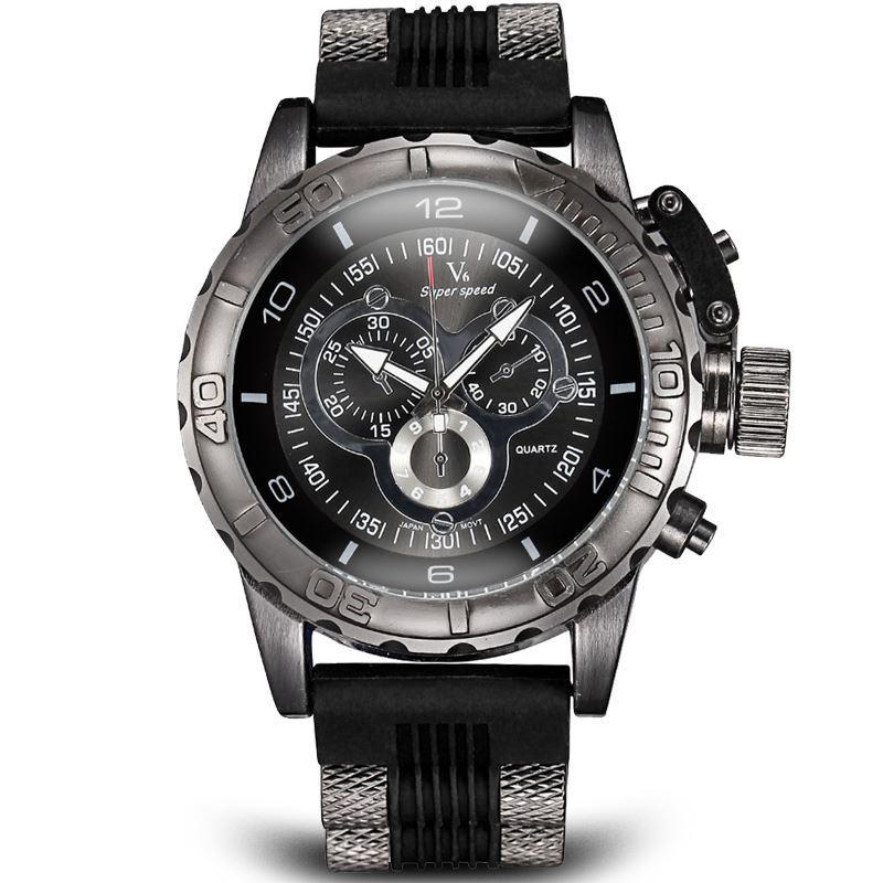 9aaccd59a77 Compre Vogue Moda V6 3d Superficie Caso Lujo Negro Hombre Reloj ...