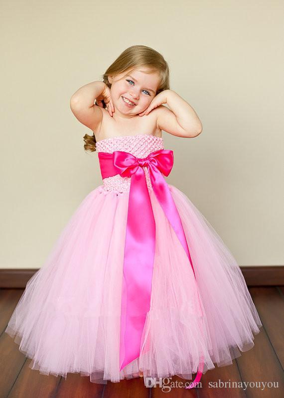 robe faite à la main 2018 fille robe nouvelle livraison gratuite pour 2-11 âge arc floral filles princesse fête mariage arc enfants robe formelle