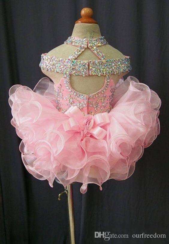 2019 Toddler Pageant Dresses Pink Organza Cupcake Enfants Robes De Bal En Cristal Perlé Dos Ouvert Avec L'arc Formal Petites Filles Robe De Fête D'anniversaire