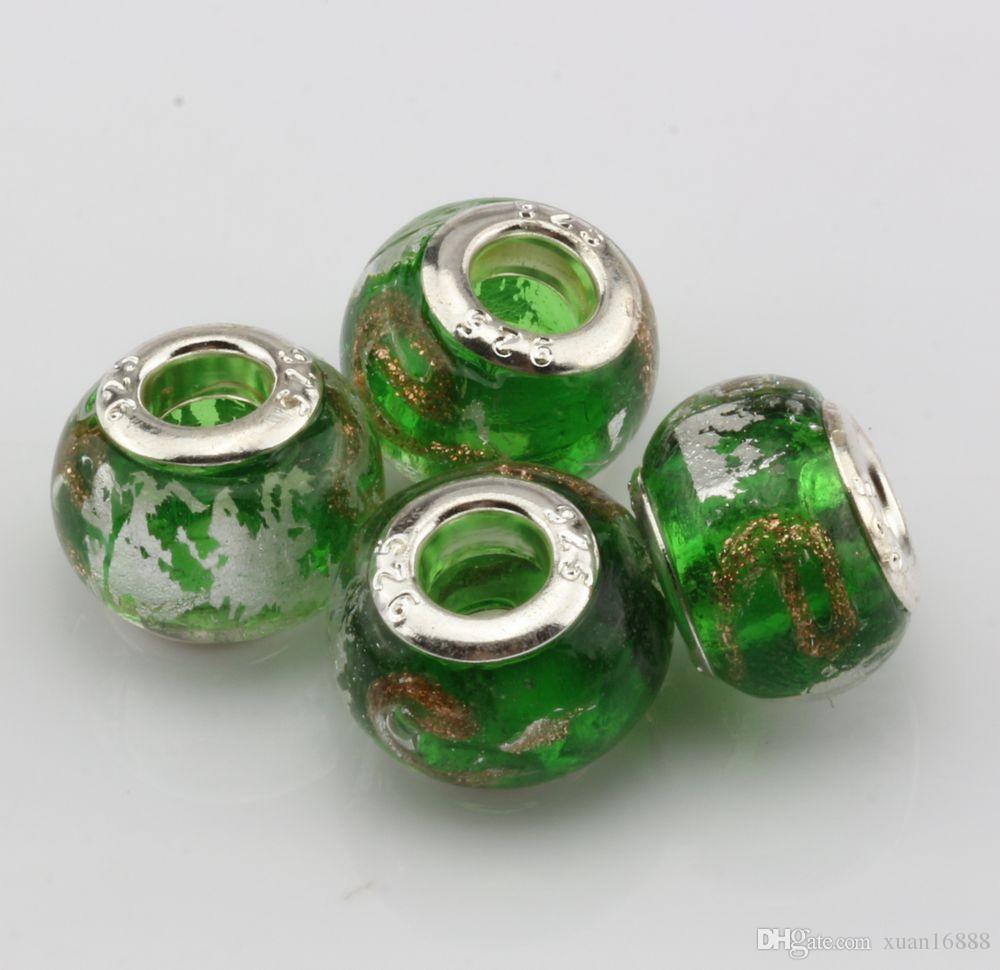 "MIC Green Gold Silver Foil Alphabet ""e"" lampwork Glass Large Hole Beads Fit Beaded Bracelet"