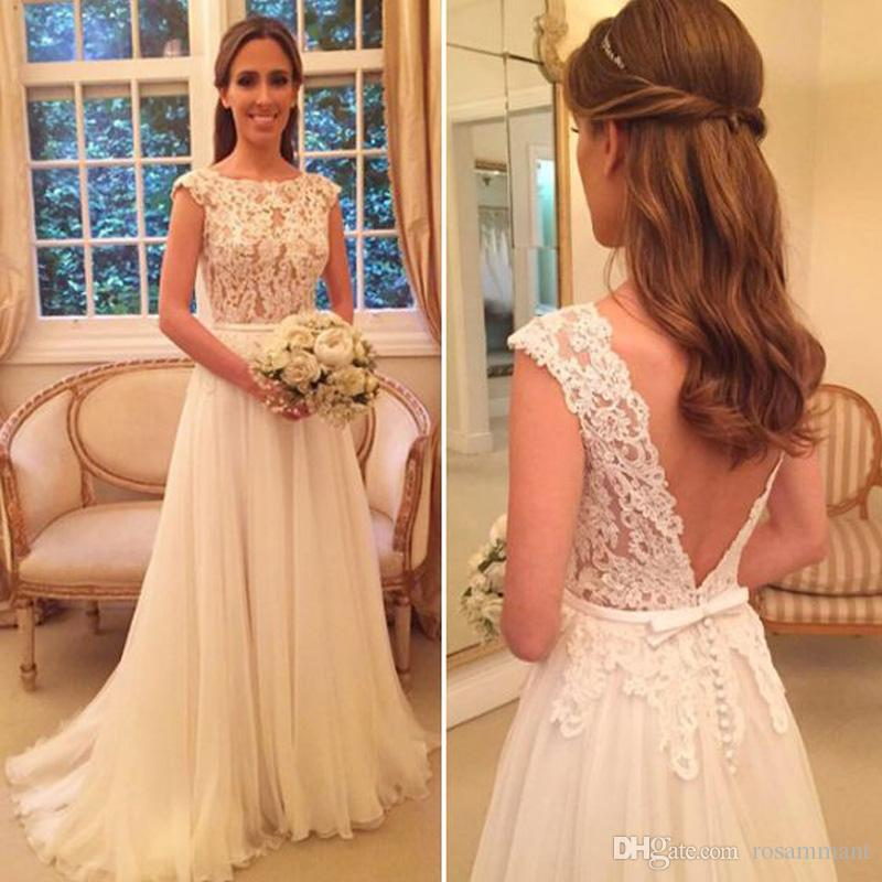 Una línea de gasa vestidos de novia de encaje Sheer cuello sin respaldo de manga Cap Boho Vestidos de novia Vestido de novia