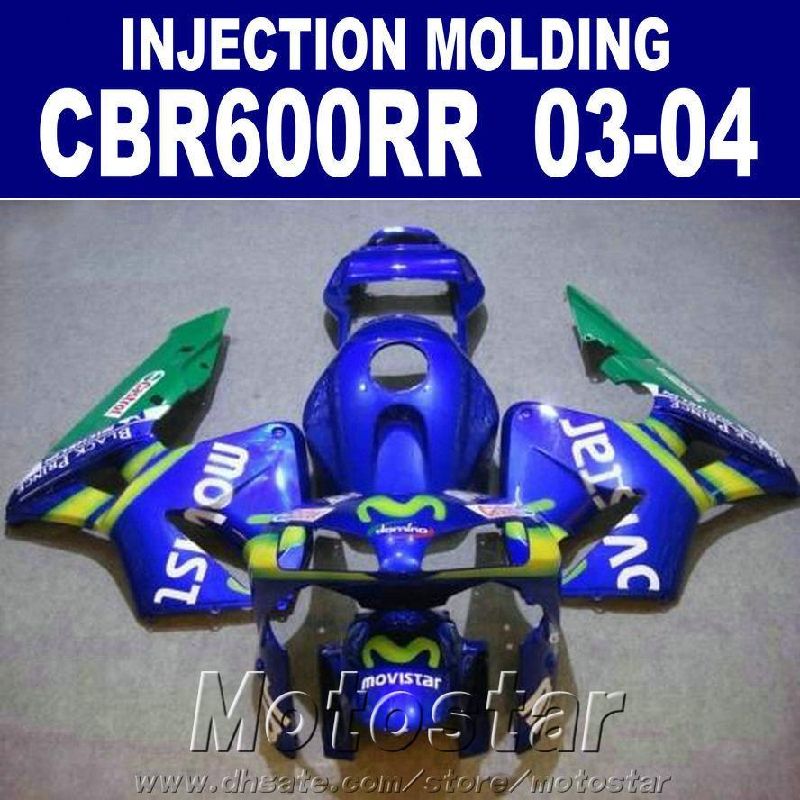 Sıcak! 100% Enjeksiyon kalıplama mavi fit HONDA CBR 600RR kaporta 2003 2004 cbr600rr 03 04 bodykits RJSD