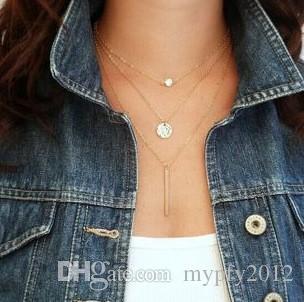 Урожай Choker Воротник Ожерелье Летней мода Стиль Pearl кулон Многослойные себе ожерелье золото коренастой цепи 4 Designs HZ