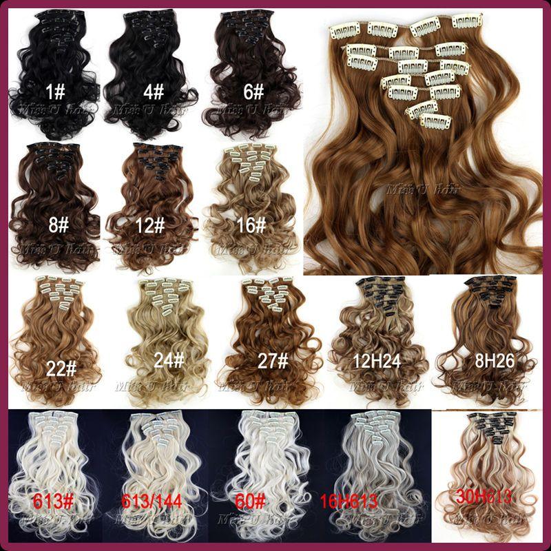 Length 45cm18 Inch 130g Wavy Synthetic Hair Long Curly Clip In Hair