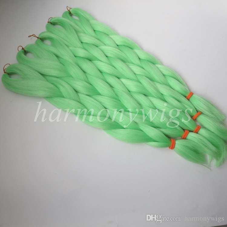 Kanekalon synthetic Braiding Hair 24inch 80g PISTACHIO GREEN Xpression Jumbo synthetic Crochet Braids hair extensions T0220