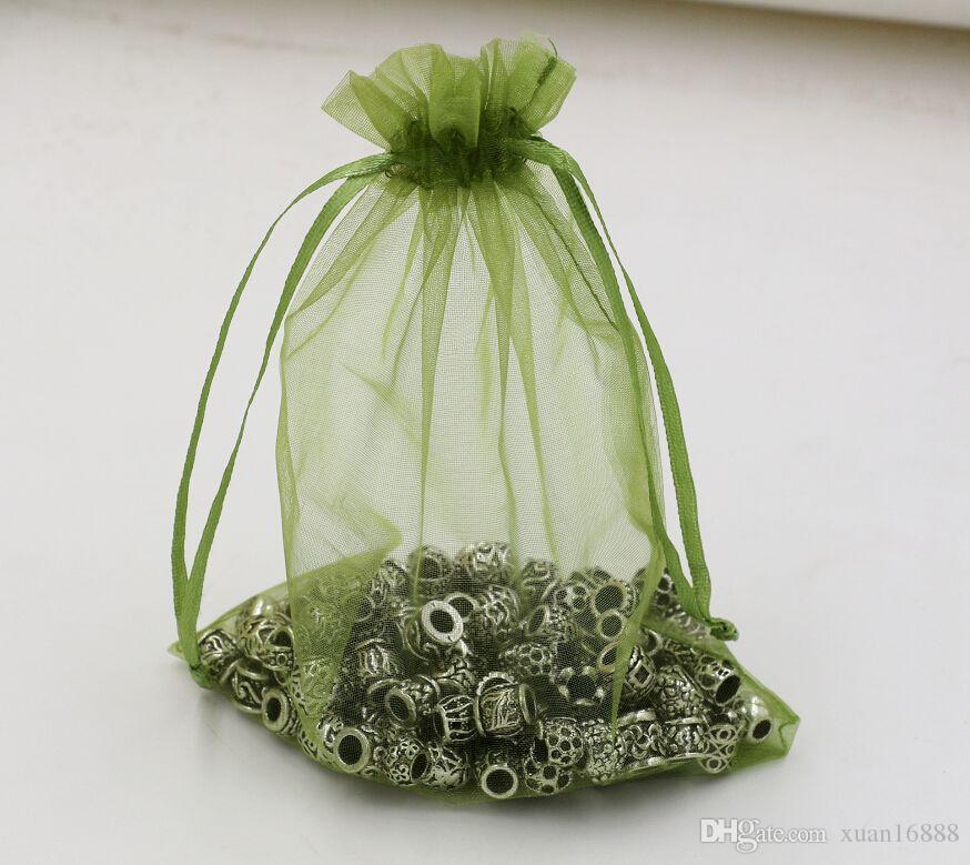 ¡Venta caliente! Bolsas de la bolsa de regalo de la joyería del Organza del verde del ejército para los favores de la boda, granos, joyería 7x9cm 9x11cm 13 x 18 cm Etc. 365