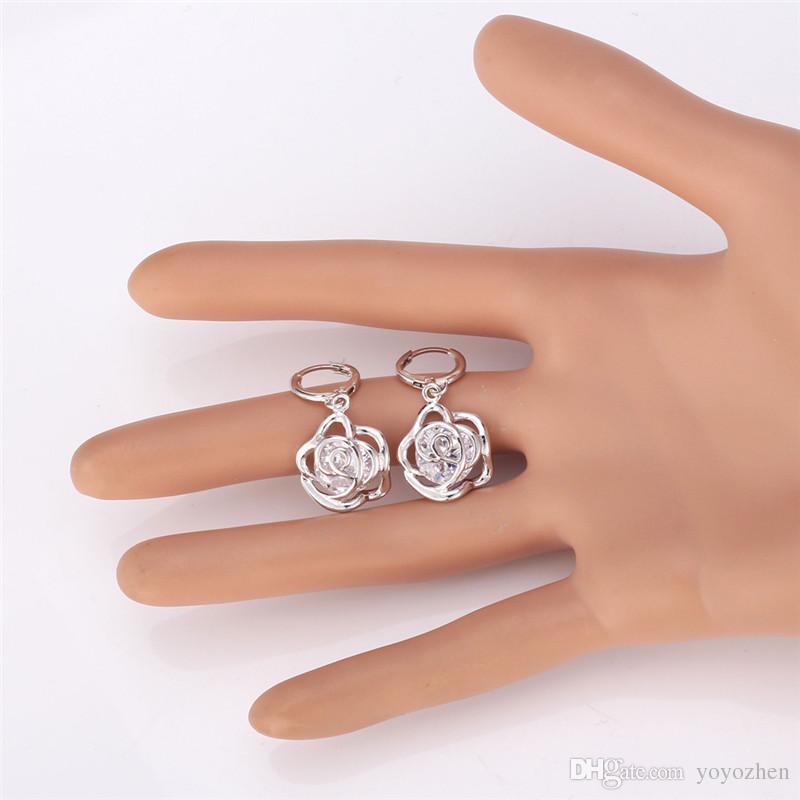 New Vintage Infinity Rose Cubique Zircone Boucles D'oreilles 18 K Réel Plaqué Or Charmes Boucles D'oreilles De Mode Bijoux Pour Les Femmes YEH5202