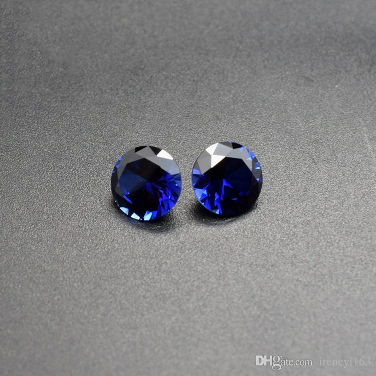 Big Sizes Synthetic Sapphire Color Blue Corundum Loose Stones Round 7-12mm Lab Created Cubic Gems CZ For Jewelry Making