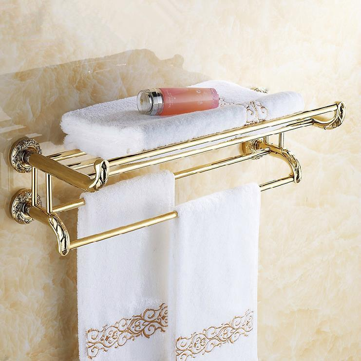 2017 wall mounted gold plating bath towel holder towel shelf solid