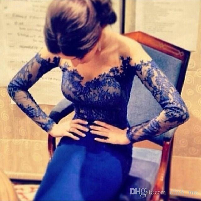 Hetaste sjöjungfrun cocktail klänning sheer neck applikationer tillbaka dragkedja långärmad kväll klänningar klänning taffeta sweep train prom party klänningar 2015