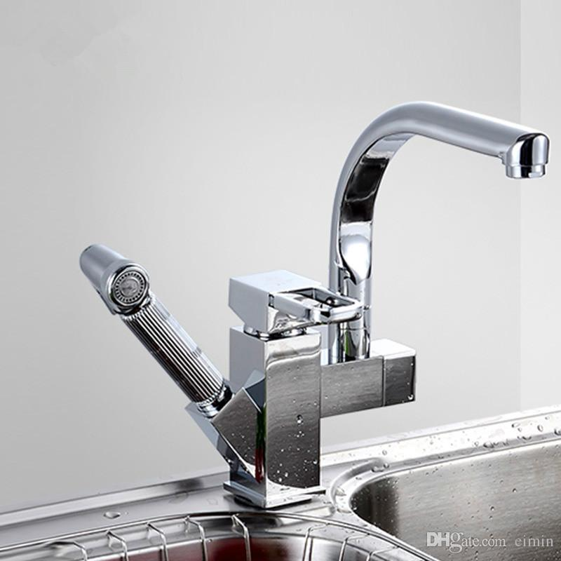 Wholesale & Chrome Promotion Kitchen Pull Out And Swivel Faucet Mixer Tap Vanity Faucet kitchen faucet