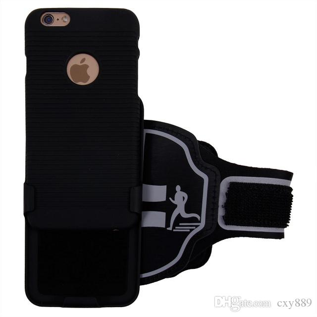 Para iPhone 5 5S 6 6S Plus Sport, negro, cuero, brazalete, deporte, estuche, gimnasio, PU, cubierta de cuero, cubierta de plástico, cubierta de clip
