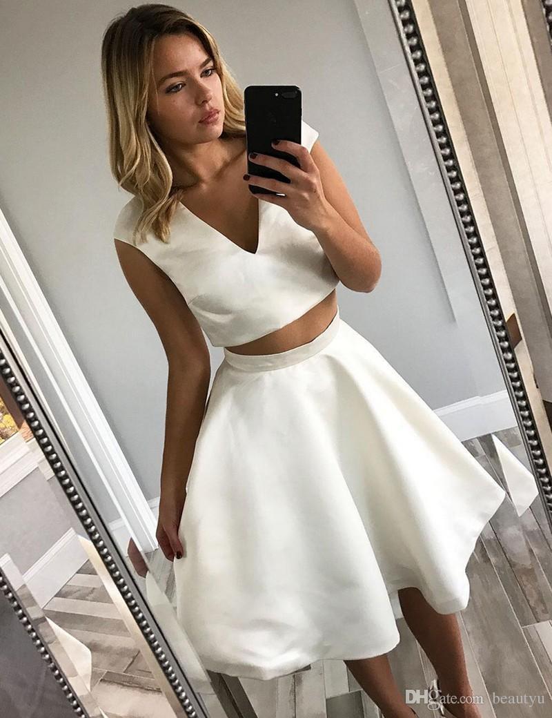 White Short Cocktail Dresses Sexy Deep V Neck Two Pieces A Line ...