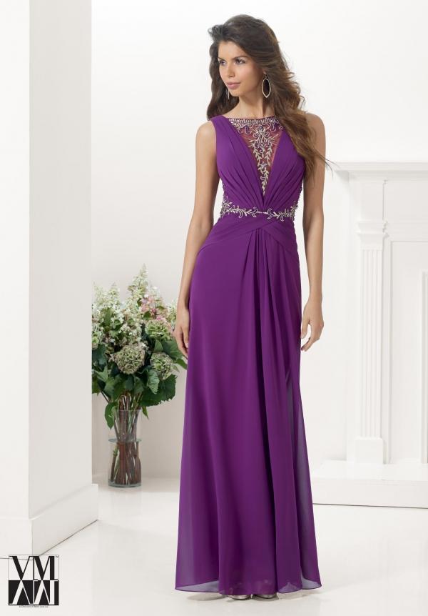 Compre El Vestido Largo Púrpura Elegante Para El Vestido De La Gasa ...