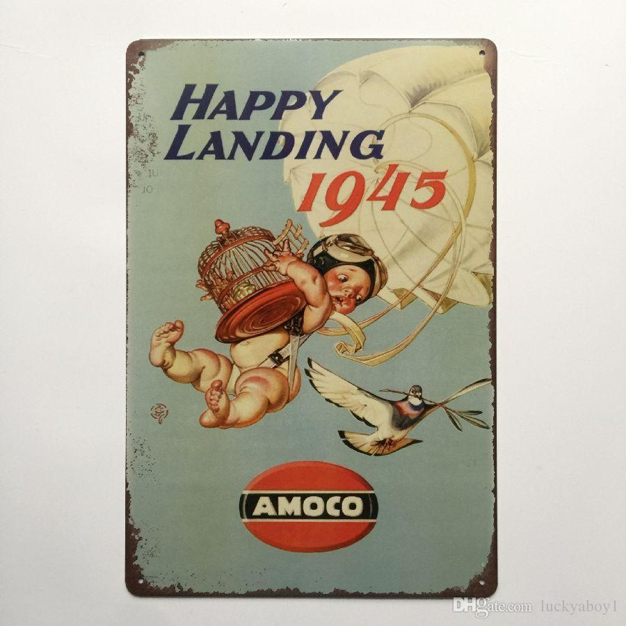 Happy Landing 1945 Amoco Retro Vintage Metal Tin sign poster for Man Cave Garage shabby chic wall sticker Cafe Bar home decor