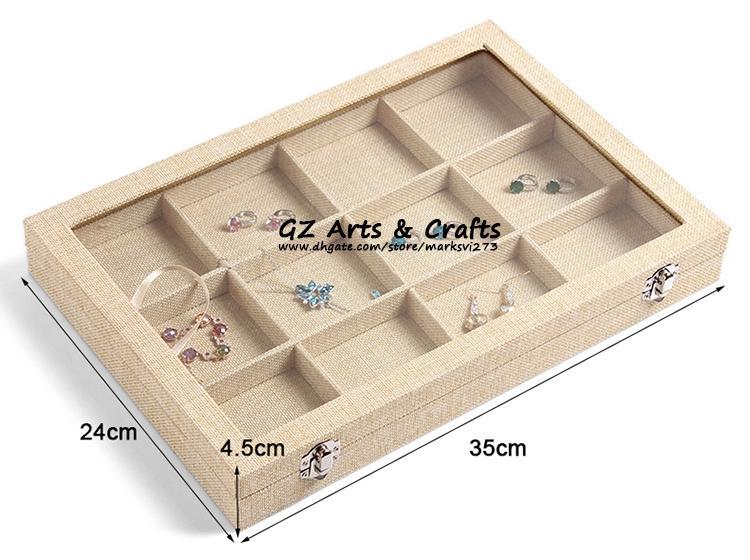 الكتان مربع كبير المجوهرات الأقراط القلائد الأساور حلقة عرض المجوهرات مربع علبة المجوهرات منظم تخزين حامل حامل المجوهرات