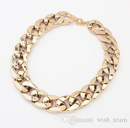 wish_team 3 цвета блестящий мода ссылка знаменитости стиль сплава колье ожерелье коренастый цепи подарок ожерелье W320