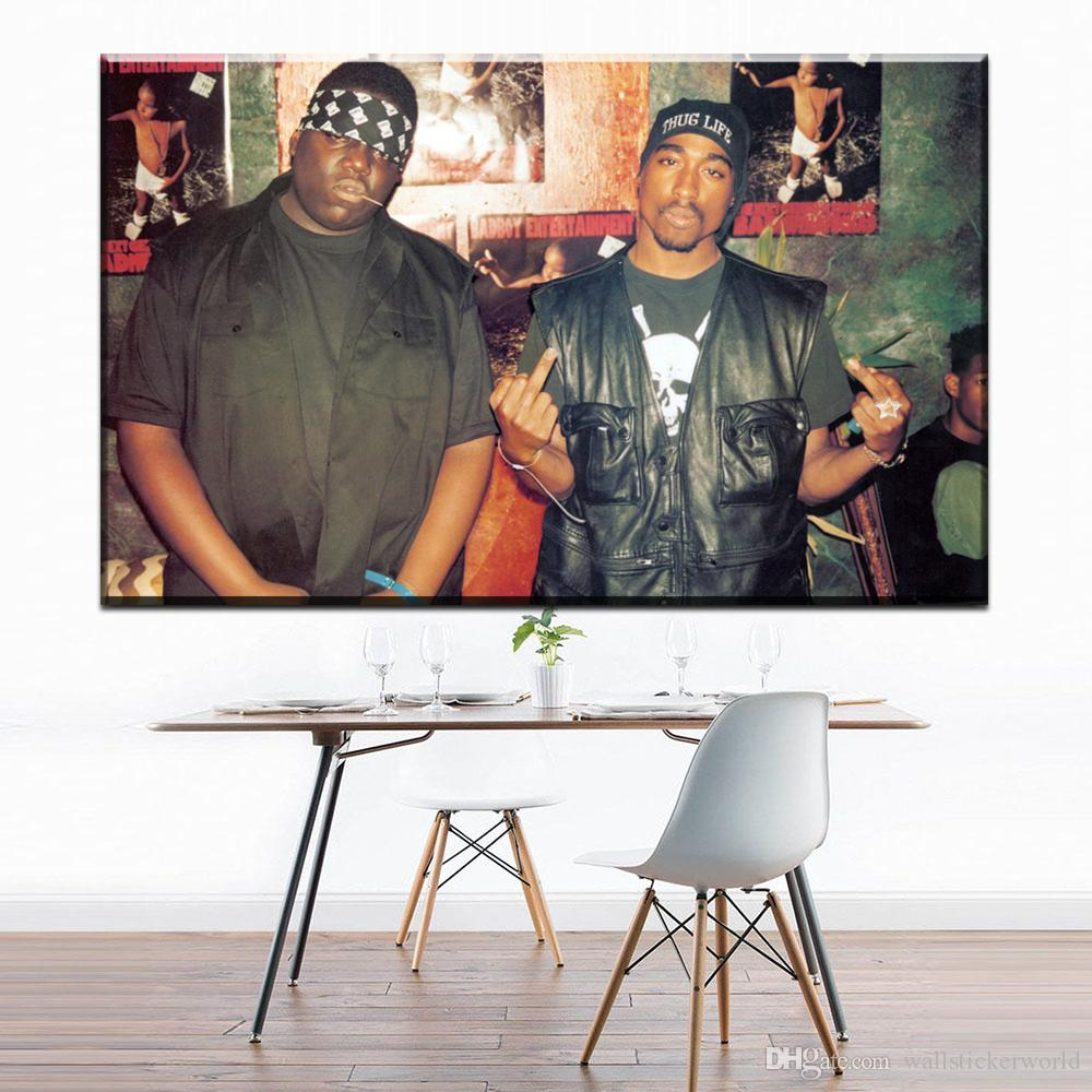2018 Notorious BIG Tupac Biggie Rap Music Canvas Art Oil Painting Modern Home Decor Wall Poster Pictures For Room No Frame From Wallstickerworld