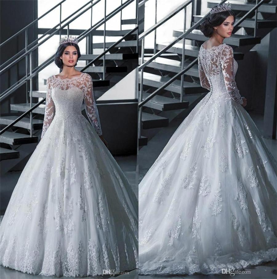 Discount 2016 Plus Size Lace Wedding Dresses Sleeves Sheer Neck ...