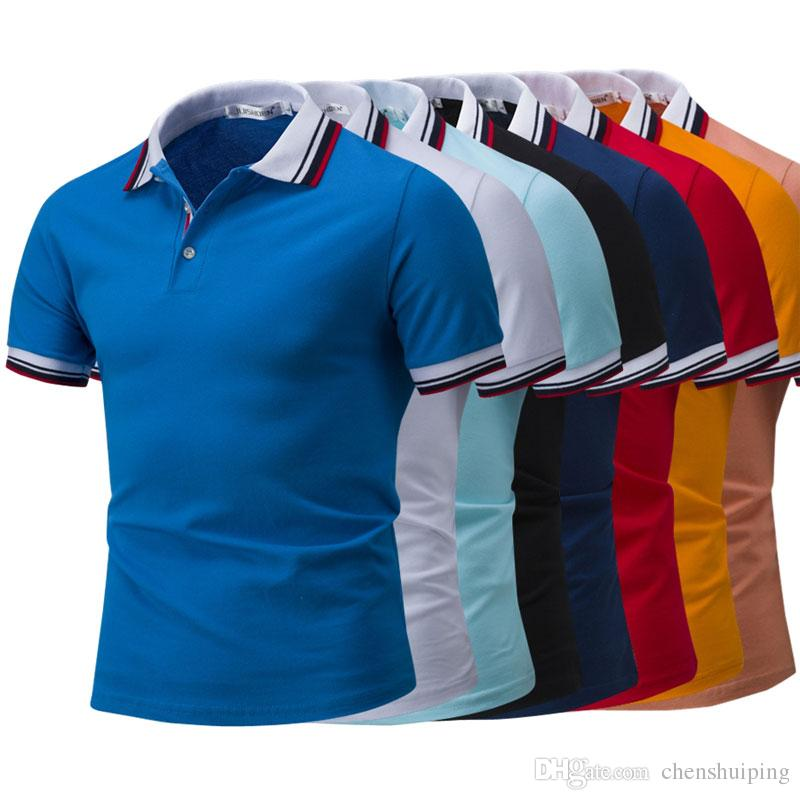 7da4fbe6435 2019 New Men POLO Shirt Fashion Pure Color Slim Fit Short Sleeve Polos Men  Summer Tops Tees From Chenshuiping
