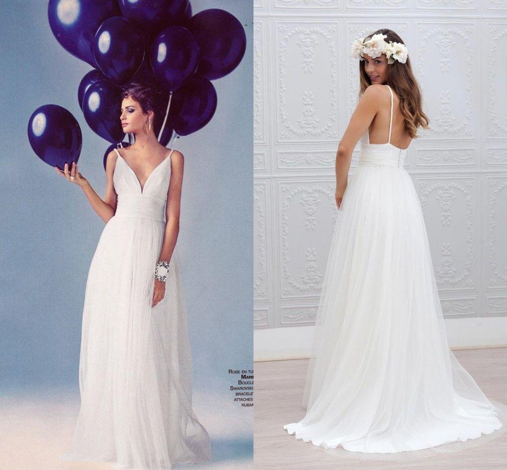 A-line spaghetti strap wedding dress images
