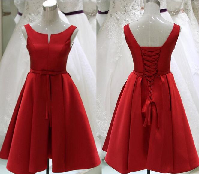 Vintage Red Prom Dresses 2017 Tea Length V Neck Satin Party Evening Gowns Zipper Back Cocktail Graduation Dresses Custom Made