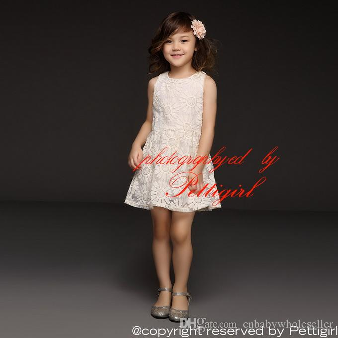 4d9ad764fa5f 2019 Pettigirl 2016 New Fashion Girls Summer Dresses White Cotton Sunflower  Dresses Children Fashion Casual Dresses GD40415 6 From Cnbabywholeseller