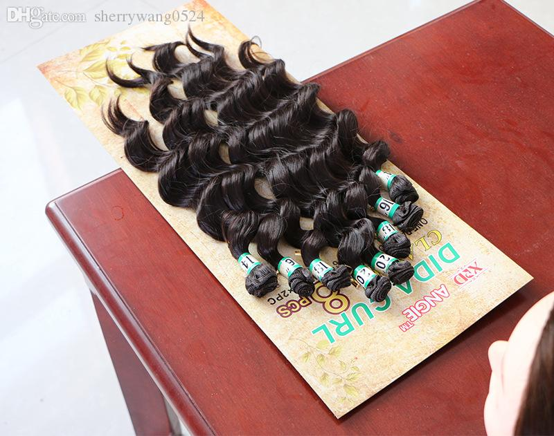 / lote Extensiones de cabello de fibra sintética de onda profunda suelta brasileña 14-20