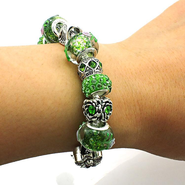 Marka Yeni Link Bilezikler Yeşil Rhinestone Cam Boncuk Infinity Yılan Zincir Bileklik Bilezik Kadınlar DIY Takı Için