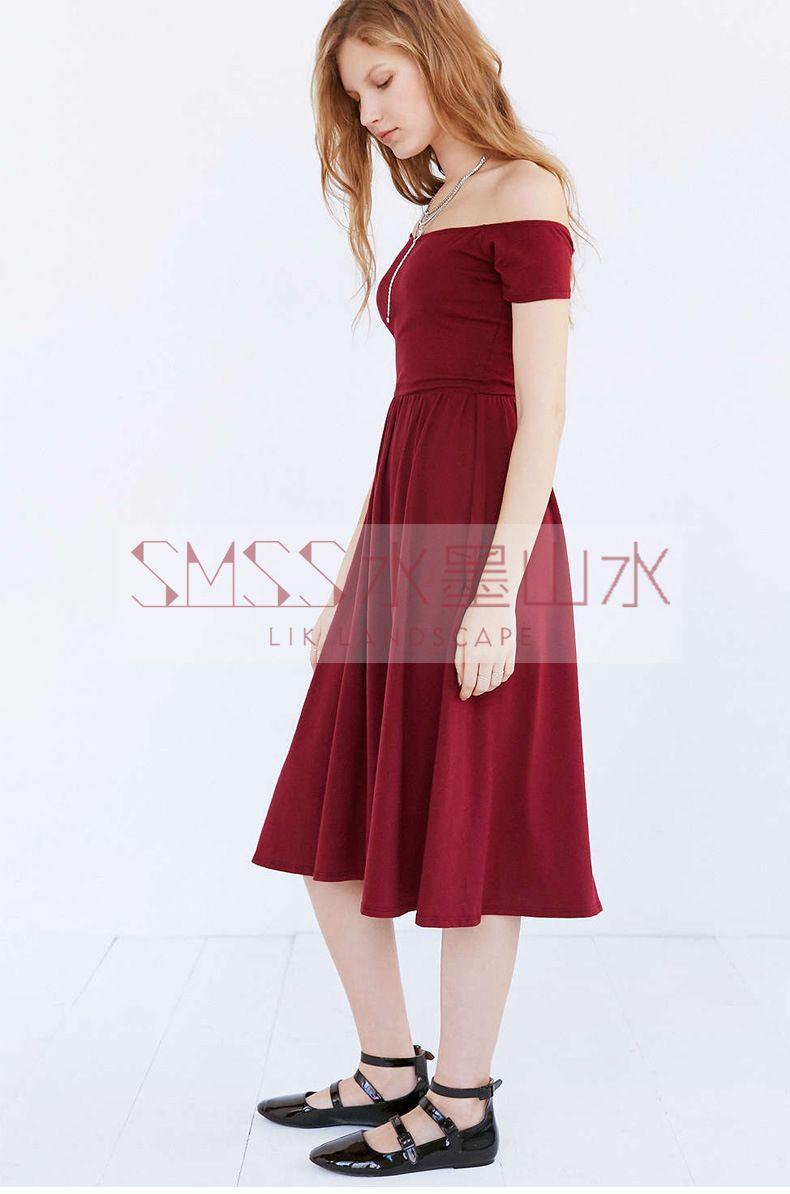 2016 봄 여름 캐주얼 튜닉 슬래시 목 A- 라인 드레스 여성 대학 스타일 오프 어깨 섹시한 하이 웨이스트 블랙 미디 드레스