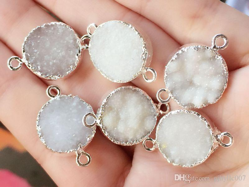 Silver plated White Round shape Natural Druzy Quartz connector , Drusy Crystal, Gem stone Pendant Beads, Jewelry findings