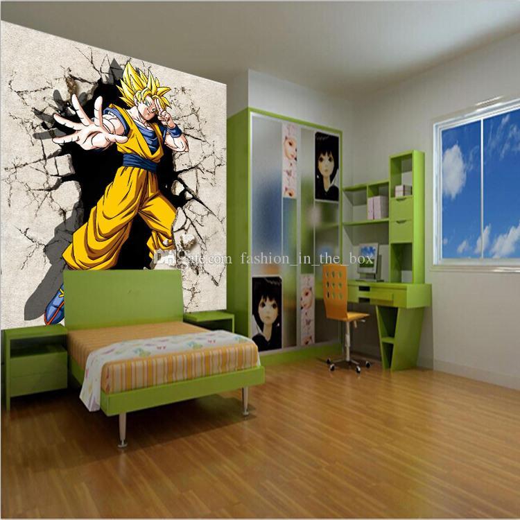 Персонализированные пользовательские фото обои Dragon Ball обои 3D настенные росписи аниме мальчики дети спальня декор комнаты украшения дома подарки на День Рождения