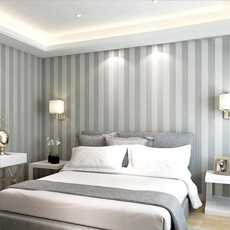Grey wide stripe wallpaper modern pvc vinyl home decor for for Grey bedroom wallpaper