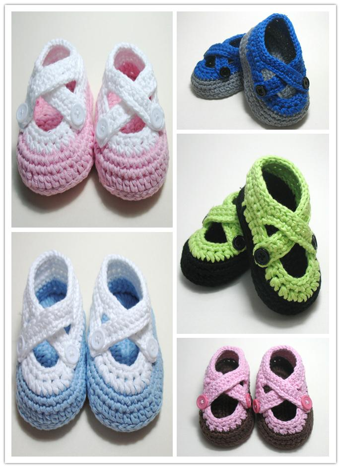 2015 Infant First Walker Handmade knitted baby Slip-On Shoes Boys Girls Toddle Children Crochet Shoes Decorative Buckle