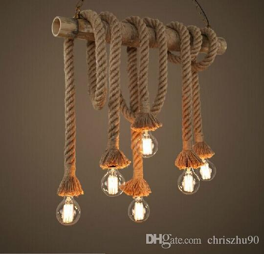 New Design Retro Single Heads Rope Pendant Lights Loft Vintage - Rope lights in bedroom