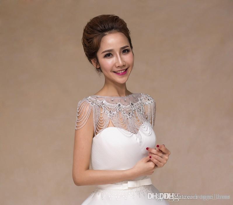 Bling Bling Hohe Qualität Braut Schulterkette Bridal Perlen Kristalle Wraps Hochzeit Braut Mode Halskette Hochzeit Schmuck Strasssteine
