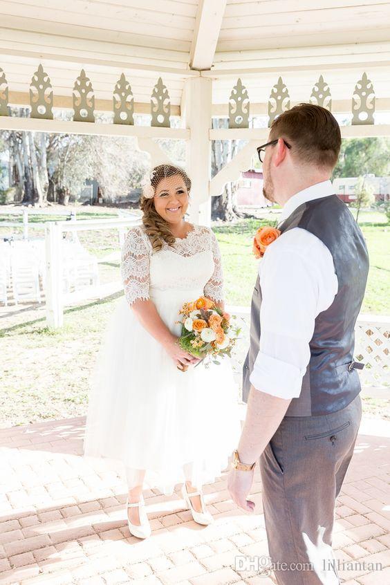 جميل قصير الرباط أثواب الزفاف نصف كم طويل العجل الشاي طول زائد حجم فساتين الزفاف جوهرة المتدرج تنورة شاطئ أثواب الزفاف بسيط