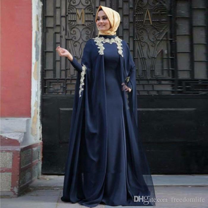 2181cf3a761e3 Modest Navy Blue Muslim Evening Dresses Hijab Dubai Party Dresses Abaya Kaftan  Dress Turkish Arabic Abiye Gowns Short Evening Dresses For Women Size 22 ...