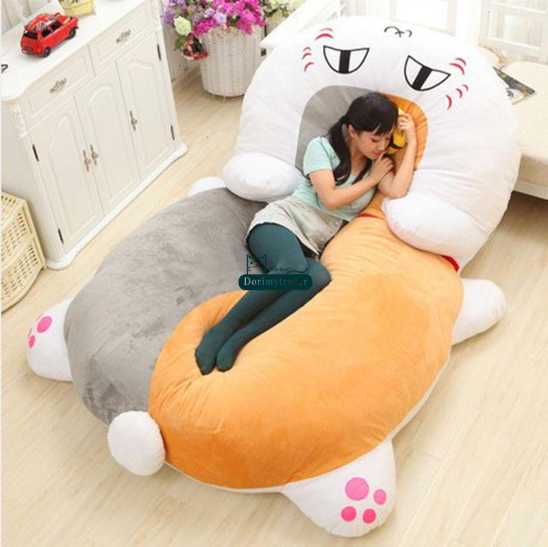 Dorimytrader 210cm X 150cm Japan Anime Plush Soft Funny Nyanko-sensei Cat Bed Tatami Sofa Carpet Mattress Nice Gift DY60369