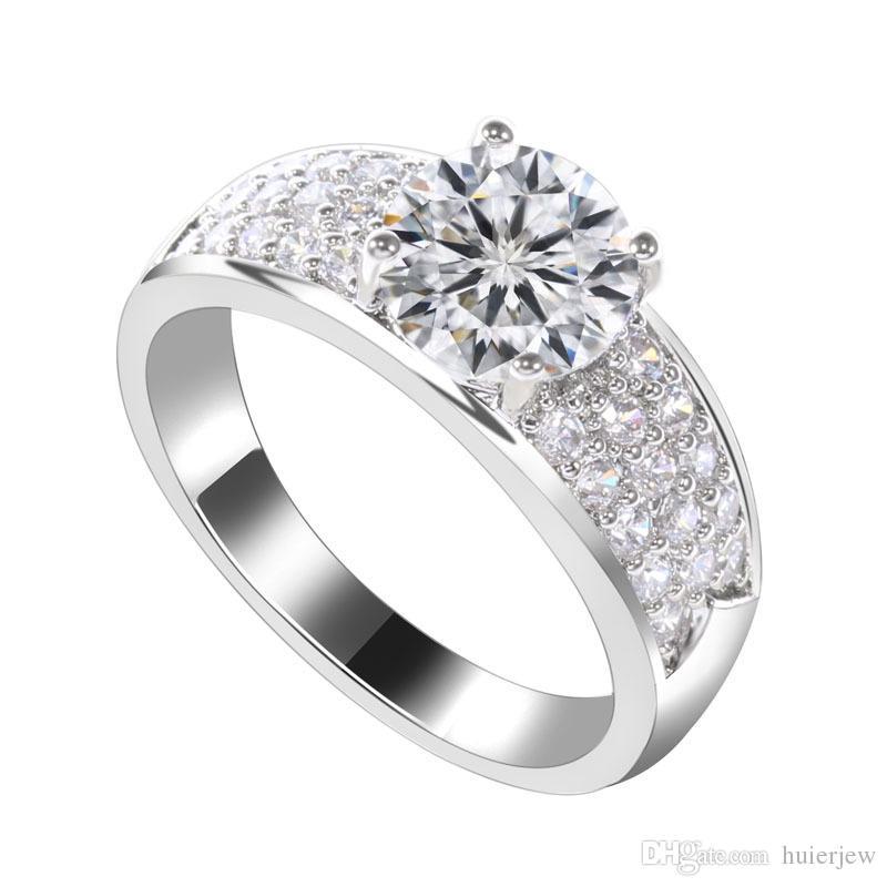 Anéis de casamento de prata esterlina 925 banhado a anéis de casamento de cristal austríaco Anéis de ouro de safira diamante de quartzo cúbicos de zircônia