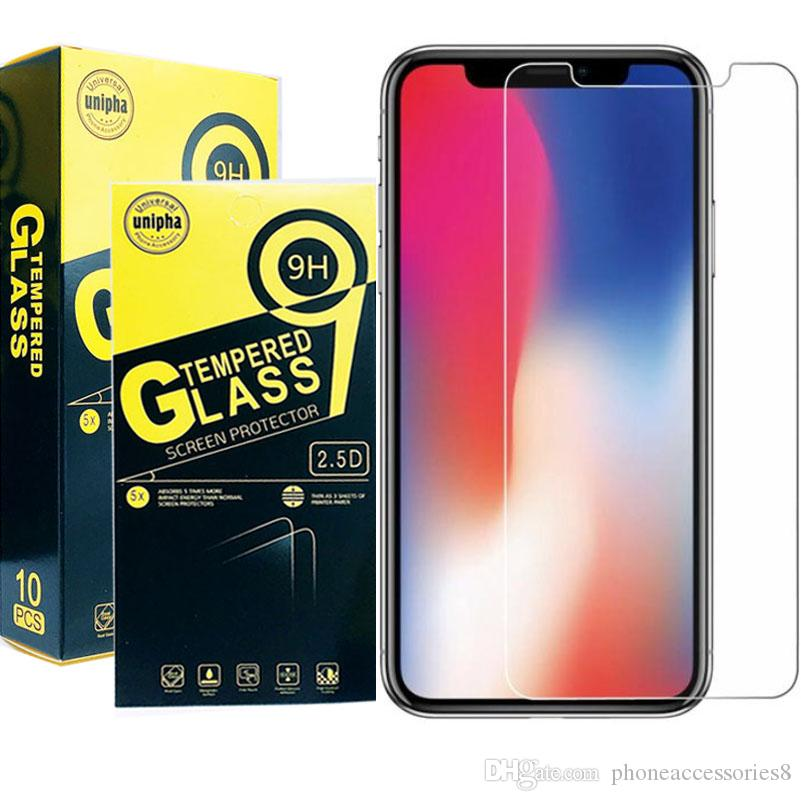 For iphone XR XS XS MAX 8 7 6 6S tempered glass film phone screen protector  for Samsung j3 Prime J3 pro 2018 A6 A6plus with retail package