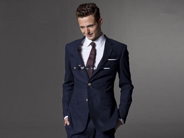 Dark Blue Wedding Suits For Men Light Navy Blue Groom Suit Men ...