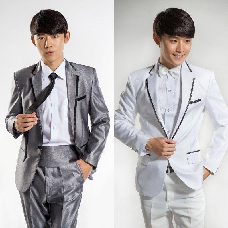 Wholesale-Black And White Silver Wedding Groom Tuxedo Suits Fashion ...
