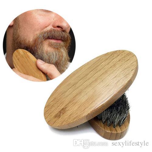 Neue Ankunft Mens Boar Haar Borsten harten runden Holzgriff Bart Schnurrbart Pinsel Set maquiagem