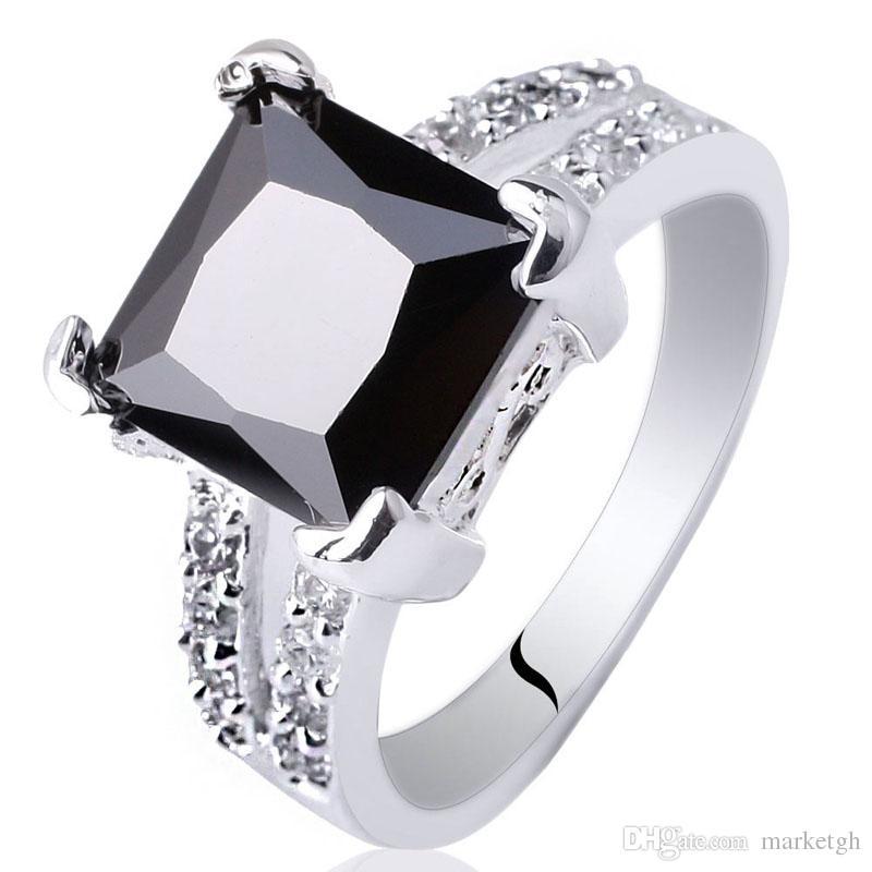 97a50c5a2eb97 Assoretd Order 5 Pieces / Lot Ladies Princess Cut Square 9X9 Black Onyx  Authentic S925 Sterling Silver Ring Mix Colors & Sizes R026