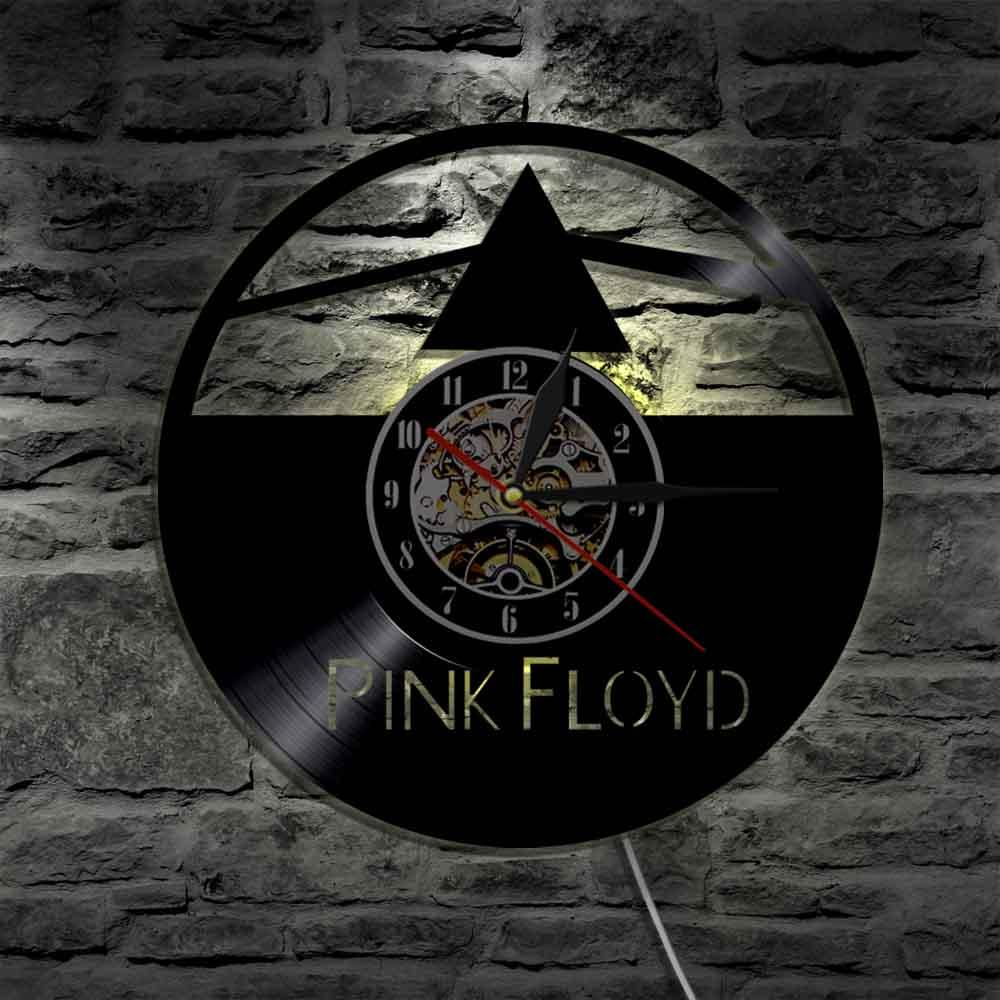 Music Group Pink Floyd Wall Art Decorative Make From Vinyl Record Wall  Light LED Black Light Color Changing Wall Clocks