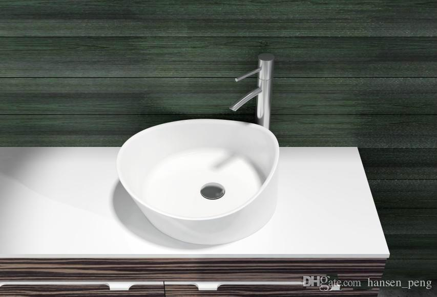 470mm bathroom solid surface stone Wall hung sink and fashionable Cloakroom Stone wall mounted wash basin RS38204