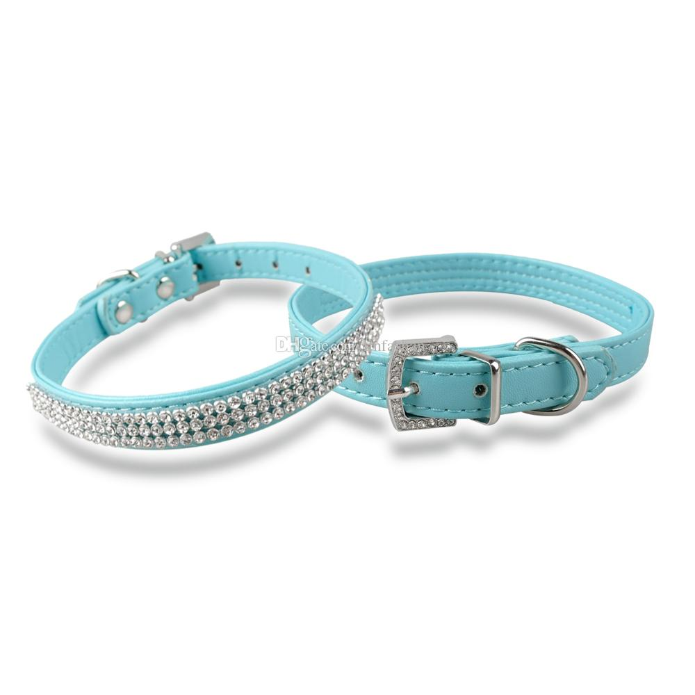 7-10 inch Bling Diamante Pet Cat Collars Puppy Leather Dog Collars with Rhineston Buckles