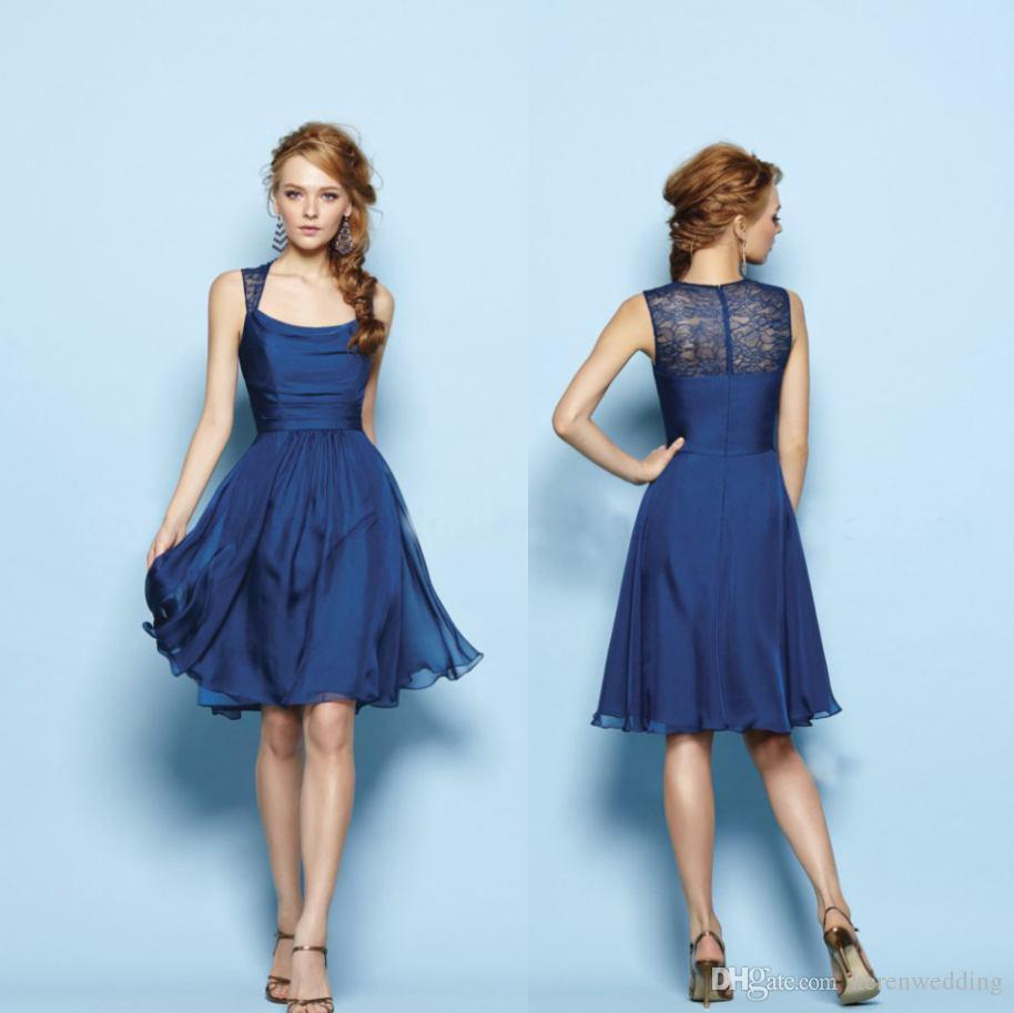 Pretty simple junior bridesmaid dresses nave blue short chiffon a see larger image ombrellifo Image collections